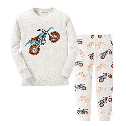 Pyjama Nightwear (TinaLuLing Cotton Boys Motorcycle Pajama Kids Dinosaur Cartoon Pajamas Nightwear(P017, 7 Years))