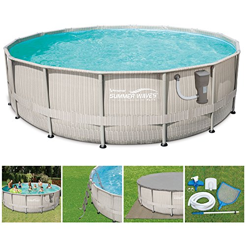Summer Waves 16ft x 48in Elite Frame Above Ground Swimming Pool Set with Ladder