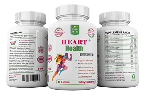 SimplyNutra Heart Health Plus & HighBlood Pressure Herbal Supplement Support Strong Healthy Heart and Improve Cardiovascular Health