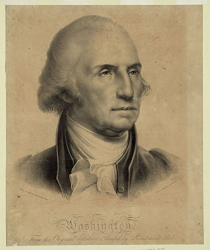 1827 Photo Washington. From the original portrait painted by Rembrandt Peale / Drawn on stone by Rembrandt Peale ; Litho of Pendleton, 9 Wall St. Print shows bust portrait of George Washington.