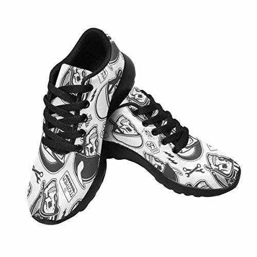 Interestprint Femmes Jogging Running Baskets Léger Aller Facile Marche Confort Sport Chaussures Modèle Avec Crâne Et Casque