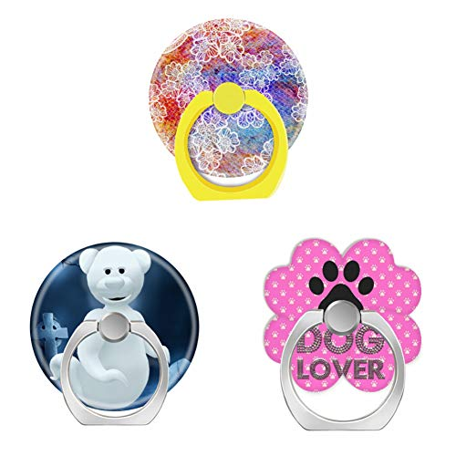 Bsxeos 360 Degree Rotation Cell Phone Ring Holder Finger Stand with Car Mount Work for All Smartphones and Tablets-Dinky Bears Little Ghost-Dog to Lover Pink-Dragon Scales red Purple lace(3 Pack) -