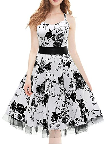 IHOT Skirt Vintage Halter Dress for Girls Women Juniors Party Beach Black White