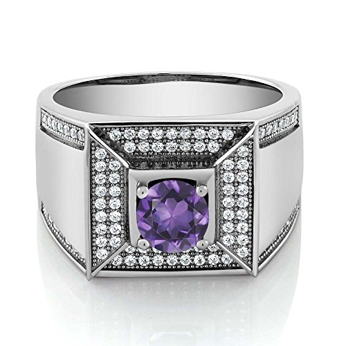 1.80 Ct Round Purple Amethyst 925 Sterling Silver Men's Ring