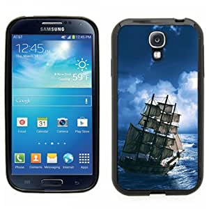 Samsung Galaxy S4 SIIII Black Rubber Silicone Case - Pirate Ship Sailing in the night Tattoo Sailor Ship