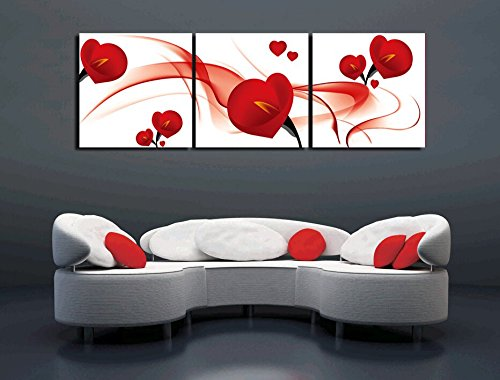 - yozhohoo Calla Lily Wall Art Red Flowers Modern Canvas Prints Artwork 3 Panels Abstract Floral Oil Paintings Pictures Photo Print on Canvas for Home Decor