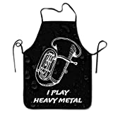 Novelty I Play Heavy Metal Unisex Kitchen Chef Apron - Chef Apron For Cooking,Baking,Crafting,Gardening And BBQ