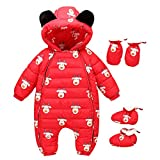 Mud Kingdom 3Pcs Winter Down Baby Girls Rompers Cute Hooded Newborn Infant Jumpsuits 12-18M Red