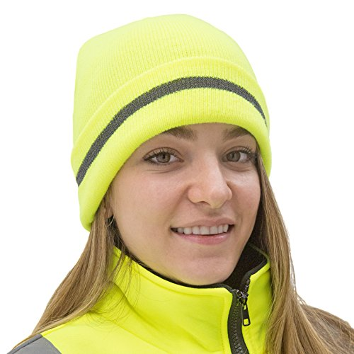 JORESTECH  Knit Safety Beanie Cap with Reflective Stripe Yellow