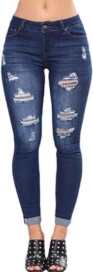 Fly Year-JP 女性はボーイフレンドジーンズかわいい苦しんでいるジーンズストレッチホールジーンズパンツをリッピング