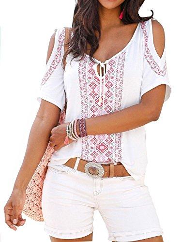 Shirt Casual Tops paule T Sexy Jusfitsu v Courtes t hors Manches Blanc Cou Femmes Fleur fwvwZaq