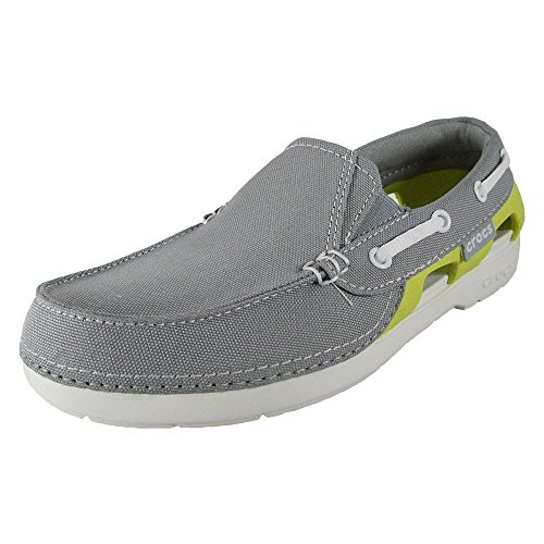 Grey Hybrid Water Shoes - Crocs Juniors Beach Line Hybrid Boat Shoes, Lt Grey/Chartreuse, US 3 Little Kid