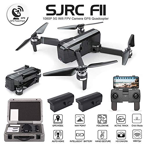 ElementDigital SJRC F11 Foldable Drone RC App Operation 1080P WiFi Camera Record Video 1-Key RTH Altitude Hold Track Flight Headless Brushless Motor, Adjustable Camera Angle (F11 + 1 ()