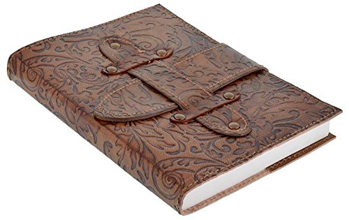 Handicraft Journal Print Handmade Leather Embossed Diary With Belt Christmas (Cotton Embossed Belt)