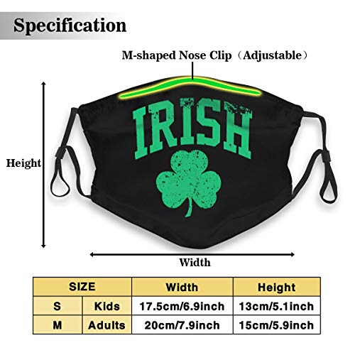 Jhanie Birrell Distressed Irish St Paddys Day Shamrock Reusable Safety Mask, Cotton Anti Dust Half Face Mouth Mask for Kids Teens Men Women Lovers Dustproof with Adjustable Ear Loops