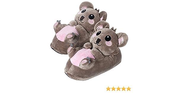 Amazon.com: corimori 1847 - Koala Hugo Cute Plush 3D Animal Shaped Slippers, Funny Lounge Shoes, Womens Sizes 4-13: Home & Kitchen