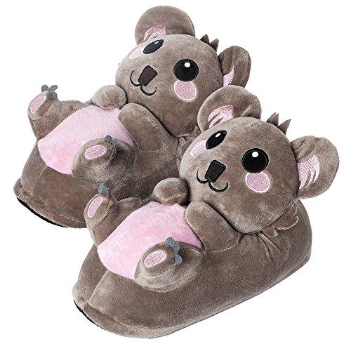 corimori 1847 - Koala Hugo Cute Plush 3D Animal Shaped Slippers, Funny Lounge Shoes, Womens Sizes 4-13]()