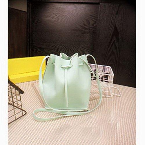 The Seventh Drawstring Bucket Bag, Leather Crossbody Bag Solid Color Shoulder Bag Original Design Bucket Corssbody Bag Tote Bag with Shoulder Strap Military Green