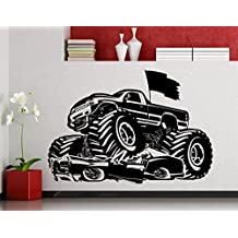 Monster Truck Wall Decal 4x4 Jeep Wrangler Vehicle Automobile Car Garage Vinyl Sticker Home Interior Art Decoration Any Room Mural Waterproof High Quality Vinyl Sticker (40ex)