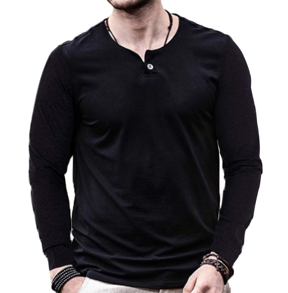 Aiyino Mens Summer Casual Slim Fit Single Button Short Sleeve Placket Plain Henley Top T Shirts (X-Large, Long Sleeve Black)