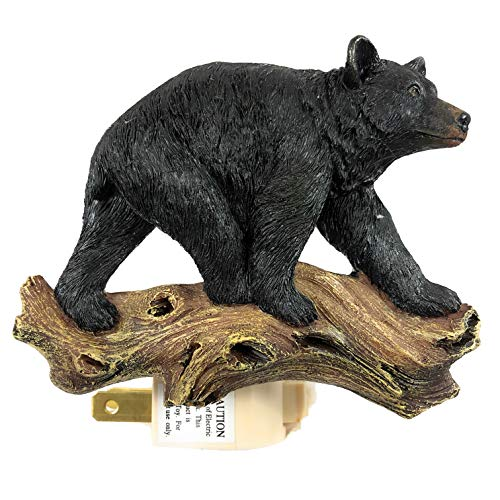 Black Bear Night Light Resin Electric Cabin Home Decor