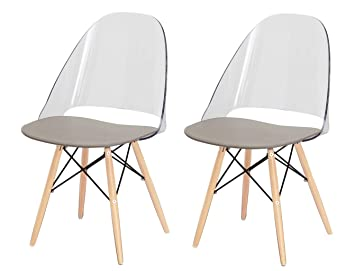 Meubletmoi Conjunto de 2 sillas con Patas en Madera de Haya, Muy ...