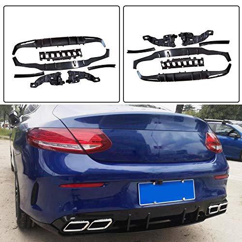 JC SPORTLINE fits Mercedes Benz W205 C205 A205 C Class Sport C180 C200 C250 C300 C350 C43 AMG Coupe 2015-2018 Carbon Fiber Rear Bumper Lip Diffuser with Exhaust Tips Muffler - Mercedes Rear Benz Mufflers