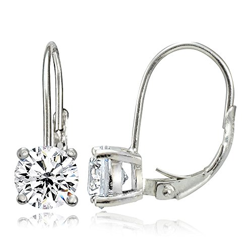 Sterling Silver Cubic Zirconia 6mm Round Leverback Earrings