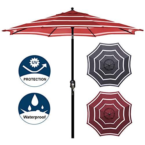 Blissun 9' Outdoor Aluminum Patio Umbrella, Market Striped Umbrella with Push Button Tilt and Crank (Red & White) (Umbrella For Red Sale)