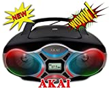 Akai CE2016-L Portable CD Boombox Show Sport Stereo CD Player with AM/FM Radio and Aux Line-in Disco LED Light Show