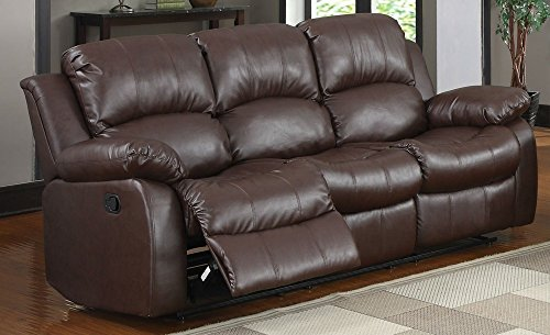 "Homelegance Resonance 83"" Bonded Leather Double Reclining Sofa, Brown from Homelegance"