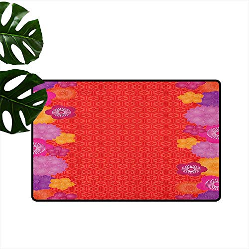 Red,Heavy Duty Doormat Auspicious Pattern from Asian Culture with Different Chinese Bellflower Figure Borders 20