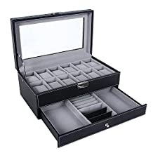 SortWise ® Leather 12 Mens Watch Box with Jewelry Display Drawer Glass Top Lockable Watch Case Organizer, Storage Pillows Removable, Double Deck / 2 Tiers (Black)