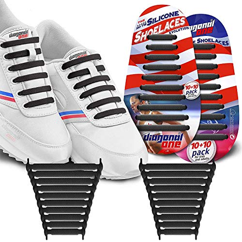 Diagonal One No Tie Shoelaces for Kids & Adults.The Elastic Silicone Shoe Laces to Replace Your Shoe Strings. 20 Slip On Tieless Flat Silicon Sneakers Laces