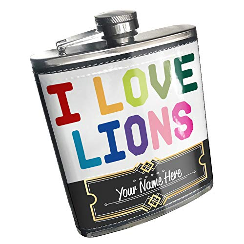 Neonblond Flask I Love Lions,Colorful Custom Name Stainless Steel