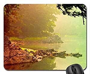 FOGGY MORNING Mouse Pad, Mousepad (Lakes Mouse Pad, Watercolor style) by runtopwell