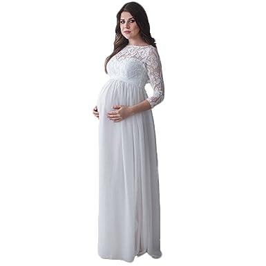 ENINE Photography Maternity Dress Lace Long Dress 3/4 Long Sleeve ...