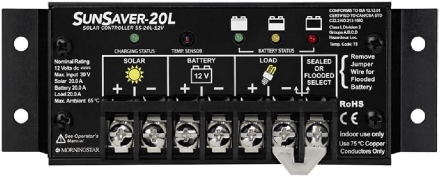 Morningstar SS 20L 12V SunSaver 20 amp 12 volt Solar Charge Controller with LVD