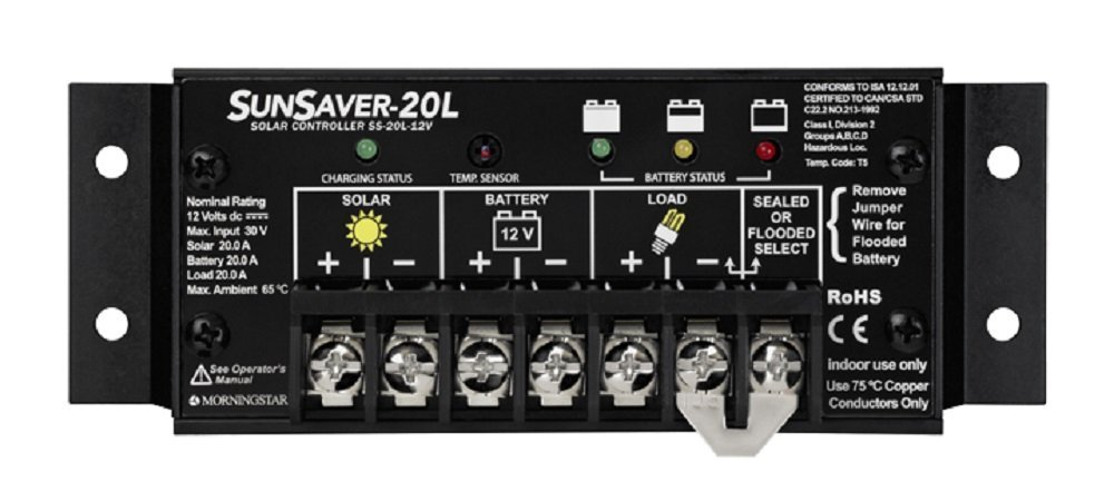 Morningstar SS 20L 12V SunSaver 20 amp 12 volt Solar Charge Controller with LVD