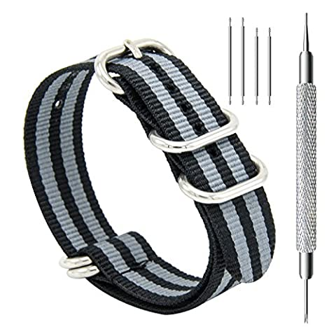 CIVO Heavy Duty G10 Zulu Military Watch Bands NATO Premium Ballistic Nylon Watch Strap 5 White Rings with Stainless Steel Buckle 20mm 22mm 24mm … (black smoke grey bond, (Pebble Band Ring)