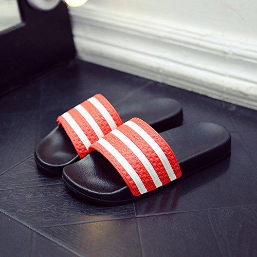 DogHaccd Zapatillas,Cool verano zapatillas de baño interior femenina home stay antideslizante con un par de moda, luciendo un estilo fresco y masculino de playa Rojo Grande2