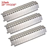GASPRO 3-Pack Stainless Steel Heat Plate Shield Tent Deflector and Burner Cover Replacement for Centro, Charbroil, Costco, Thermos, Lowes Model Grills (15 x 4 3/16inch)