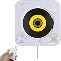 Bluetooth CD Player Speaker Wall Mountable Portable Home Audio Boombox with Remote Control FM Radio Built-in HiFi Speakers USB MP3 Headphone Jack AUX Input Output White