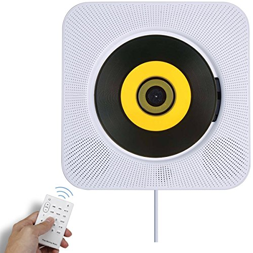 Bluetooth CD Player Speaker Wall Mountable Portable Home Audio Boombox with Remote Control FM Radio Built-in HiFi Speakers USB MP3 Headphone Jack AUX Input Output White (Speakers Mini Player Cd With)