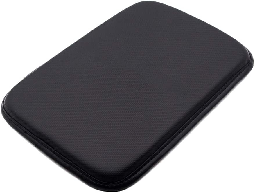 Alusbell Auto Center Console Pad, Car Armrest Seat Box Cover Protector Universal Fit Carbon Fiber Leather
