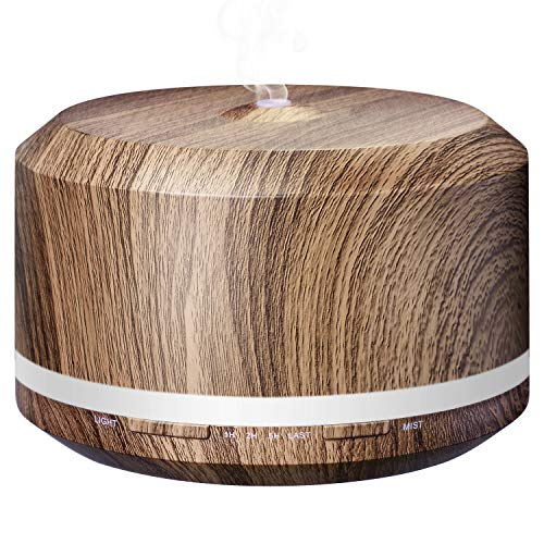 Essential Oil Diffuser 450ml, Dark Wood Grain Aromatherapy Diffusers and Air Humidifiers Set for Large Room - LUSCREAL Gift ()