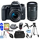 Canon EOS 77D EF-S 18-55 IS STM Kit With 55-250mm Lens, Flash, Tripods, 32GB SanDisk Memory Card + Much More #189C016 [International Version] (Pro Bundle + 55-250mm)