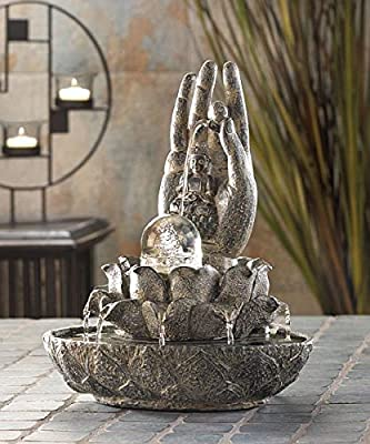 Tabletop Relaxation Buddha Fountains Garden Waterfall Indoor Pump Water Mainstays Tranquility Feng Sui Outdoor