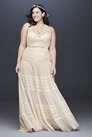 Lace and Point D Esprit Plus Size Wedding Dress Style 9WG3956 ...