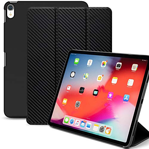 KHOMO iPad Pro 12.9 Inch Case 3rd Generation (Released 2018) - Dual Carbon Fiber Super Slim Cover with Rubberized Back and Smart Feature